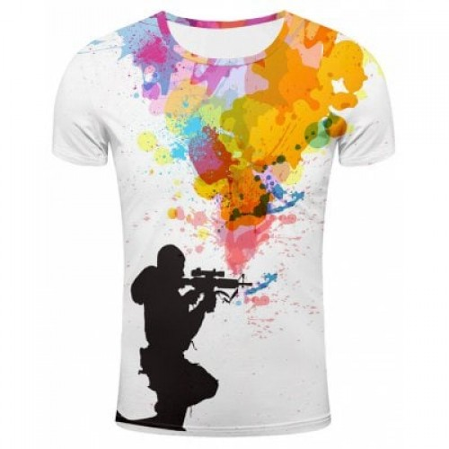 3D Sniper and Colorful Splatter Paint Print T-Shir...