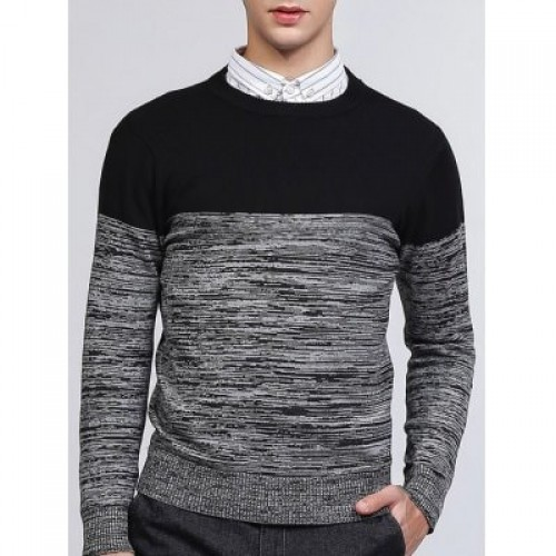 Crew Neck Color Block Splicing Knit Blends Sweater...