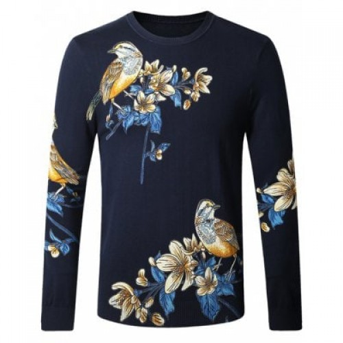 Bird Floral Print Pullover Sweater