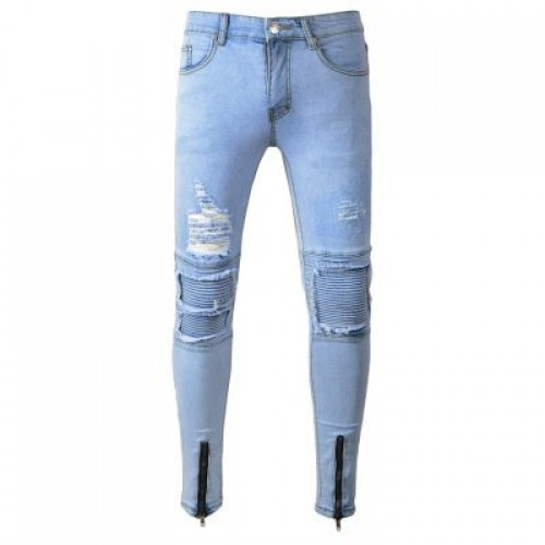 Casual Slim Fit Jeans with Distressed Details