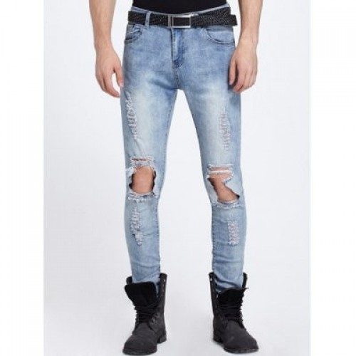 Knee Hole Zipper Fly Ripped Jeans