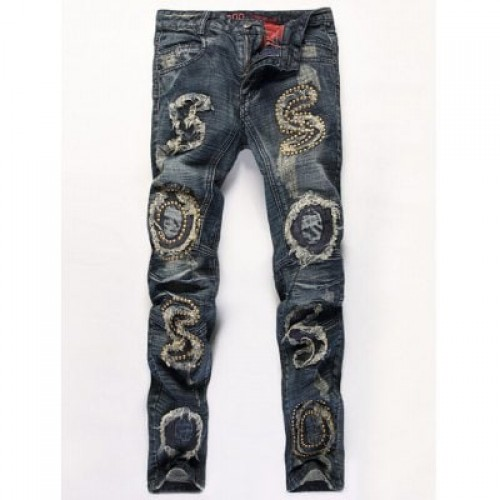Distressed Stud Embellished Zipper Fly Straight Le...