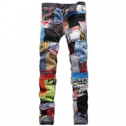 Slimming Rag Patch Spliced Jeans