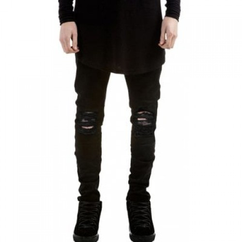 Skinny Zip Fly Jeans with Knee Rips