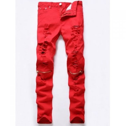 Ripped Red Jeans