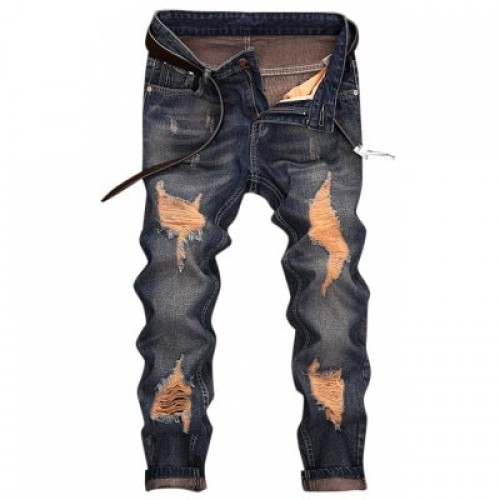 Ripped Design Cuffed Nine Minutes of Jeans